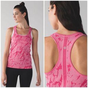 Lululemon pink patterned swiftly workout tank Sz 6